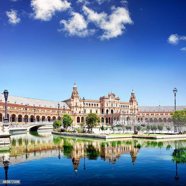 plaza de espana in seville - seville stock pictures, royalty-free photos & images