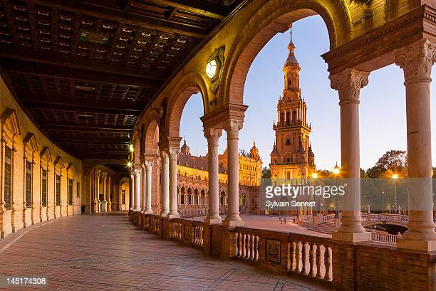 plaza de espana, seville, at dusk - seville stock pictures, royalty-free photos & images