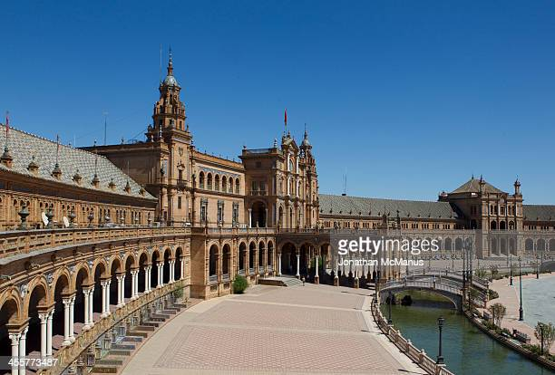 Plaza de Espana, Seville. This famous monument has been sued in numerous films, such as Star Wars and the Dictator as a set.The view is taken from...