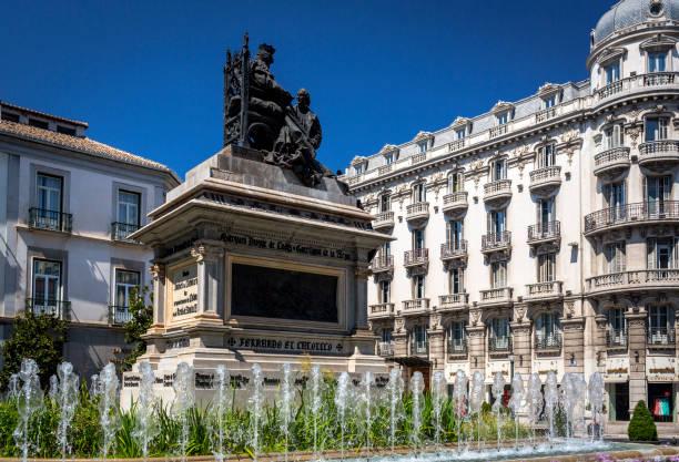 Plaza de Isabel la Catolica, Granada, showing its 19th century statue centrepiece