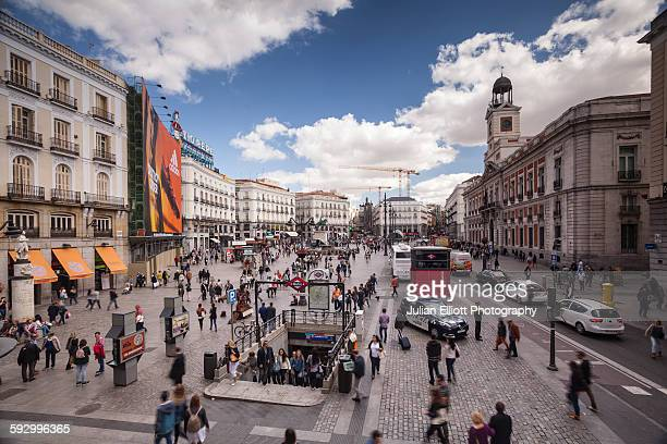 plaza de la puerta del sol in madrid, spain. - madrid stock pictures, royalty-free photos & images