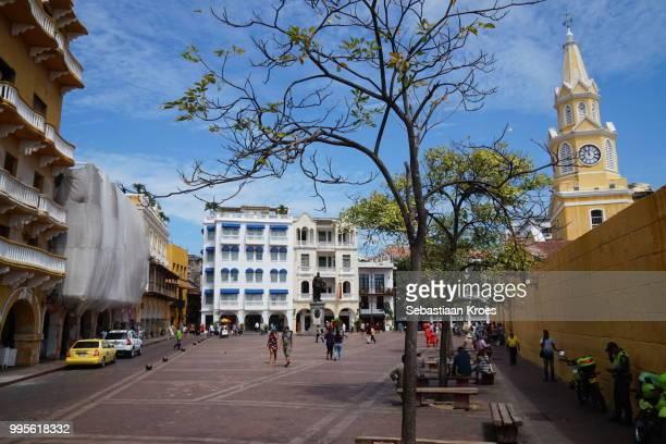 Plaza de los Coches, Cetral Square in Old Cartagena, Torre de Reloj, Cartagena, Colombia