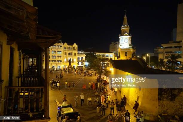 Plaza de los Coches, Square at night, Torre de Reloj, Cartagena, Colombia