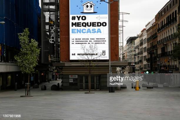 Plaza del Callao in Madrid is seen almost empty due to coronavirus crisis and the lockdown of the entire country in Madrid Spain on March 20 2020...