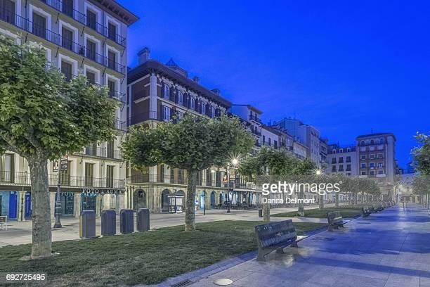 Plaza del Castillo at dawn, Pamplona, Navarra, Spain
