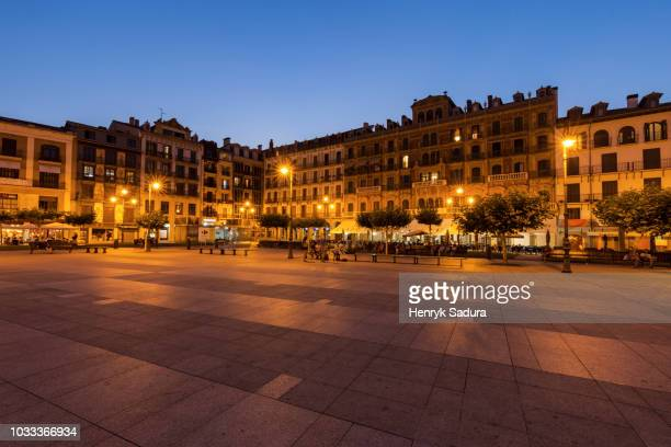 plaza del castillo in pamplona - pamplona stock pictures, royalty-free photos & images