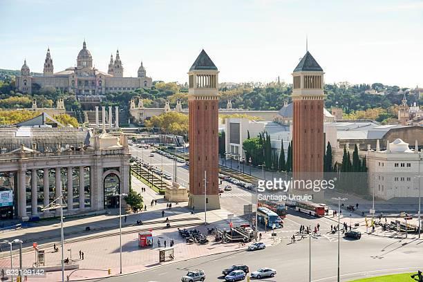 Plaza Espana with Palace Of Montjuic on background