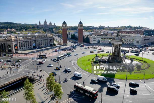 plaza espana with palace of montjuic on background - montjuic stock pictures, royalty-free photos & images