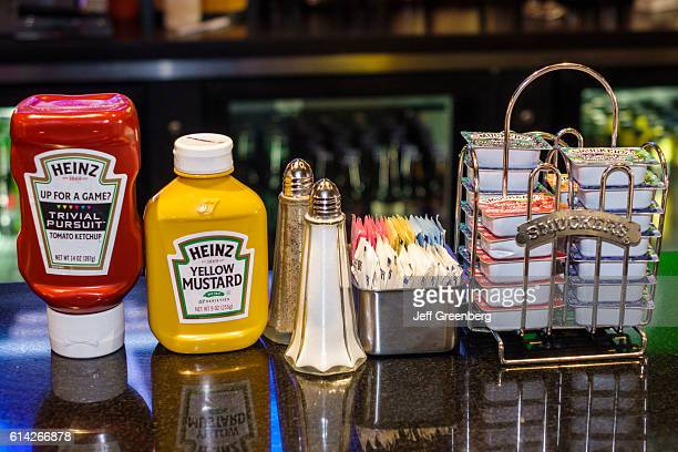 Plaza Grill Restaurant condiments in the Crowne Plaza hotel