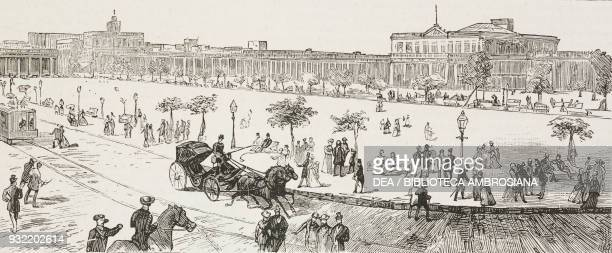 Plaza Independencia Montevideo Uruguay illustration from the magazine The Graphic volume XXX no 777 October 18 1884