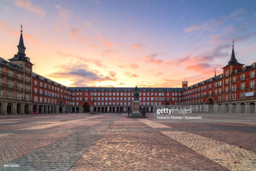 Plaza Mayor at sunrise, Madrid, Spain : Stock Photo