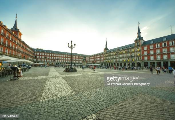 plaza mayor in madrid at sunset, spain - courtyard stock pictures, royalty-free photos & images