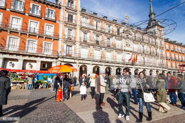 plaza mayor in madrid - dafos stock photos and pictures
