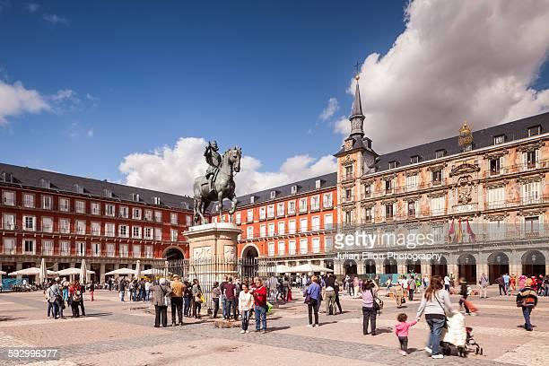 plaza mayor in madrid, spain. - madrid bildbanksfoton och bilder