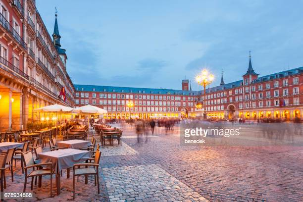 plaza mayor in madrid spain - madrid stock pictures, royalty-free photos & images