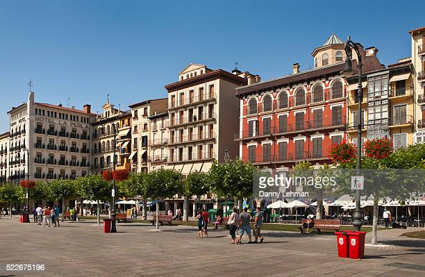 plaza mayor in pamplona - pamplona stock pictures, royalty-free photos & images