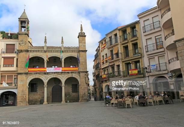 Plaza Mayor town hall and restaurant Plasencia Caceres province Extremadura Spain