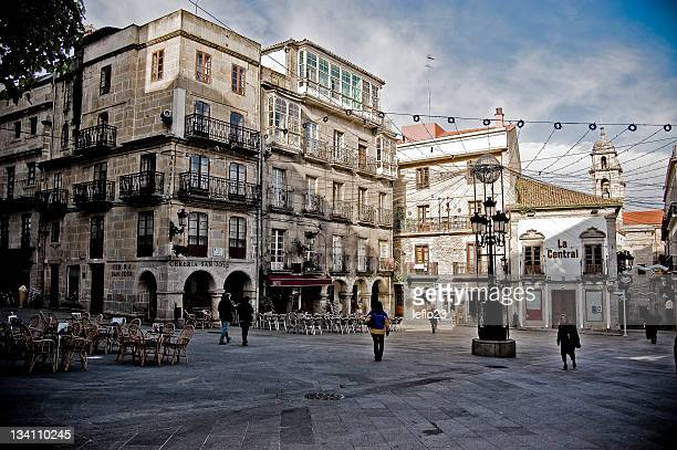plaza of constitution - pontevedra province stock photos and pictures