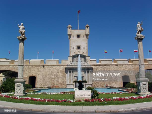 Plaza of the Constitution in front of the Puerta de Tierra an architectural monument that supposes a redoubt of the one that was the entry to the...