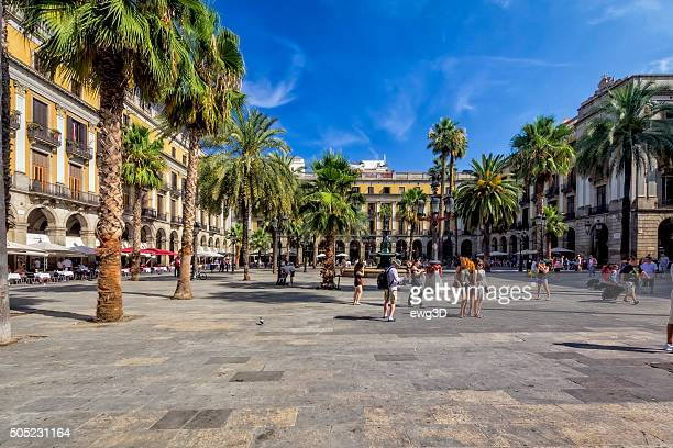 plaza real, barcelona, spain - the ramblas stock pictures, royalty-free photos & images