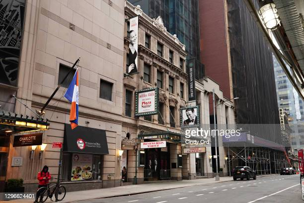 Plaza Suite at Hudson Theatre near Times Square remains closed following restrictions imposed to slow the spread of coronavirus on January 15, 2021...