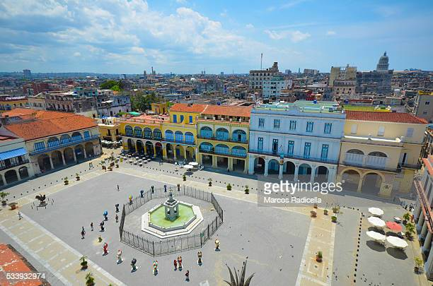 plaza vieja, main aquare in havana, cuba - radicella stock photos and pictures