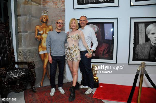 Please Do Not Enter Founders Emmanuel Renoird and Nicolas Libert with artist Karen Bystedt at Karen Bystedt's 'Kings And Queens' exhibition on March...