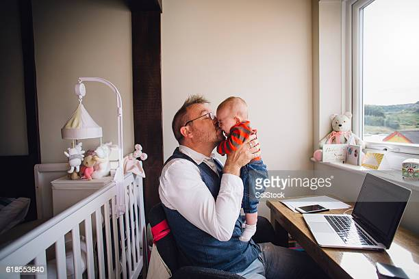 Please stop crying so daddy can work