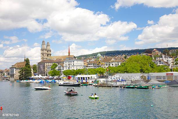 Pleasure boats on Limmat River, Zurich