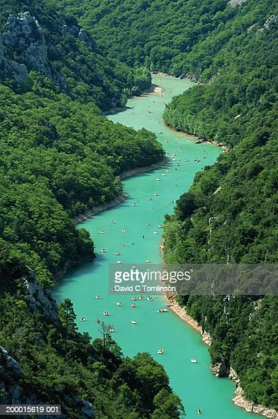 pleasure boats on verdon river gorge, aerial view - cote d'azur stock pictures, royalty-free photos & images