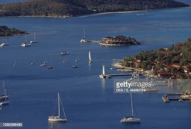 Pleasure boats, seen from Gorda Peak, Virgin Gorda, British Virgin Islands, United Kingdom Overseas Territories.