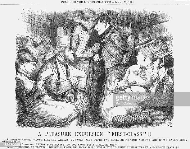'A Pleasure Excursion FirstClass' 1824 A mixed group of passengers enjoy the comforts of firstclass railway travel The large gentleman in the top hat...