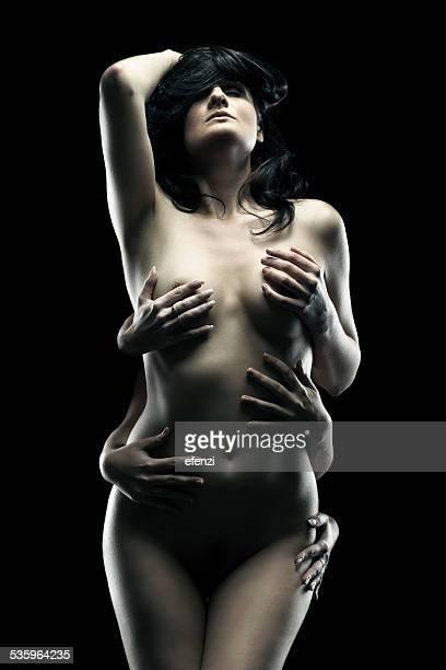per piacere - mani su seno foto e immagini stock