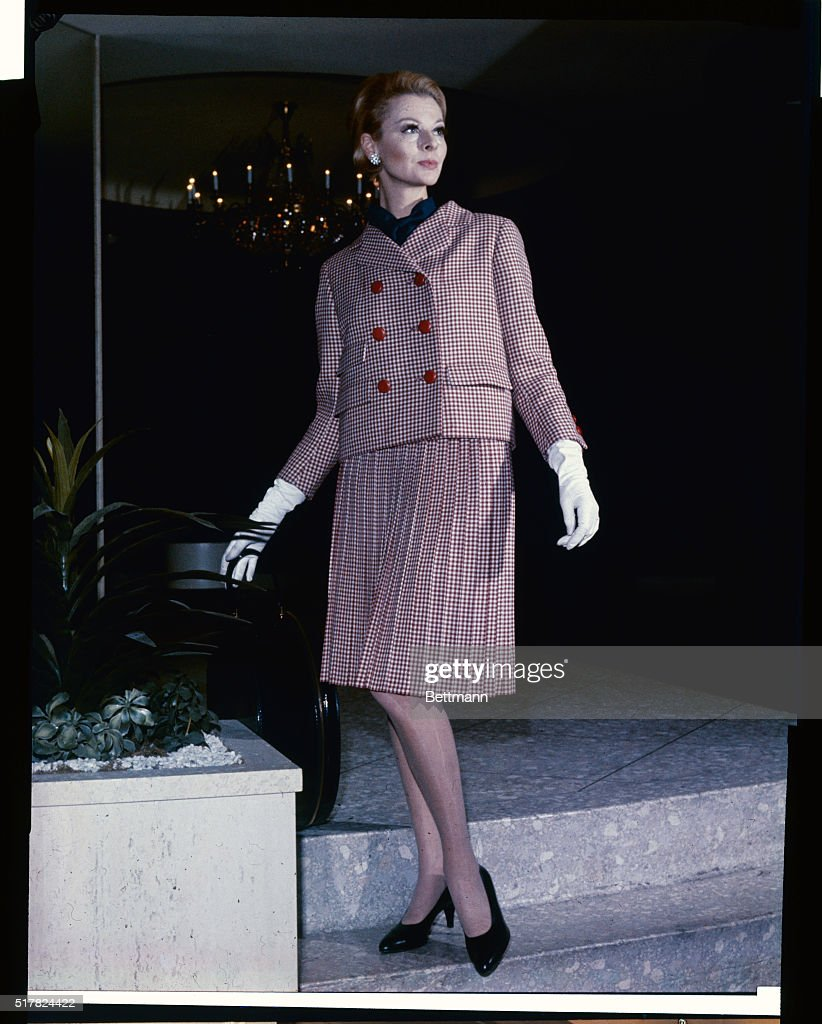 Model Wearing Suit Ensemble by Norman Norell : News Photo