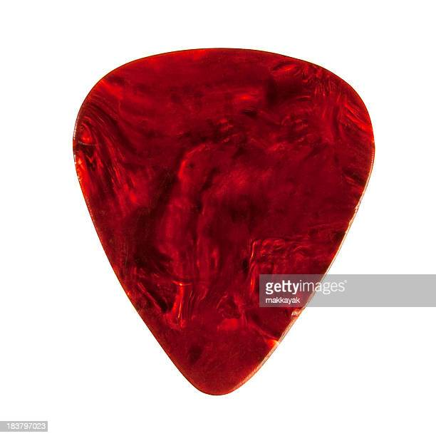 A plectrum guitar pick with a marbled red finish