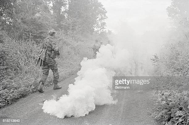 Plei Me South Vietnam The Delta Ranger troops hit the road using smoke to identify their location to L19 planes flying overhead The men were sweeping...