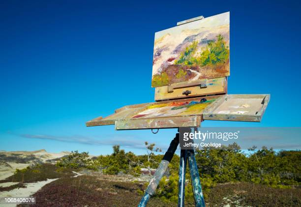 plein air landscape painting in cape cod sand dunes truro ma - easel stock pictures, royalty-free photos & images