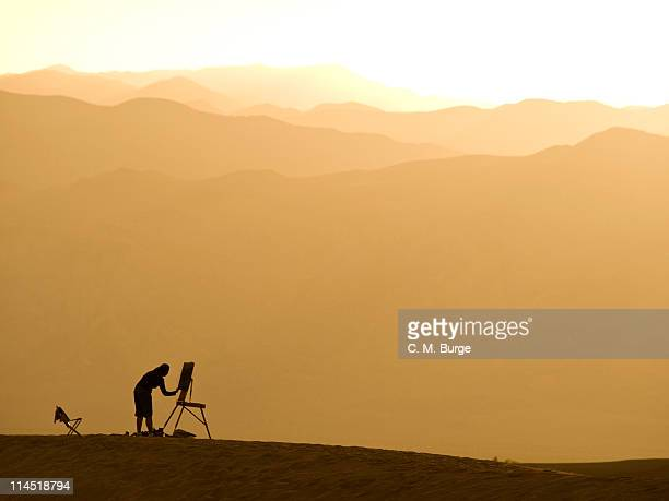 Plein Air Painter at Sunset, California