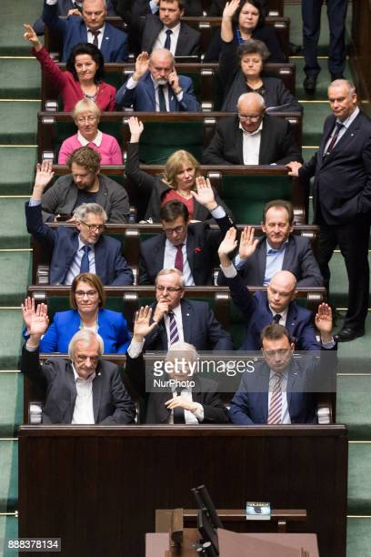 Plenary session of Sejm in Warsaw Poland on 8 December 2017 Polish Sejm will vote on the new bills of the Supreme Court and the National Judiciary...