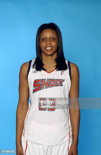 Plenette Pierson of the Detroit Shock poses for a photograph during the Detroit Shock media day on April 24 2006 at the Shock practice site in Auburn...
