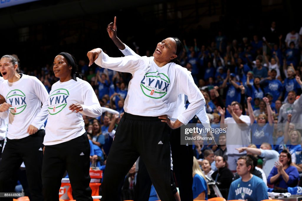 Plenette Pierson #22 of the Minnesota Lynx reacts during the game against the Los Angeles Sparks in Game Two of the 2017 WNBA Finals on September 26, 2017 at University of Minnesota Williams Arena in Minneapolis, Minnesota.