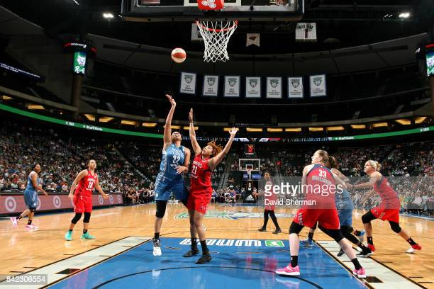 Plenette Pierson of the Minnesota Lynx shoots the ball during the game against the Washington Mystics on September 3 2017 at Xcel Energy Center in St...