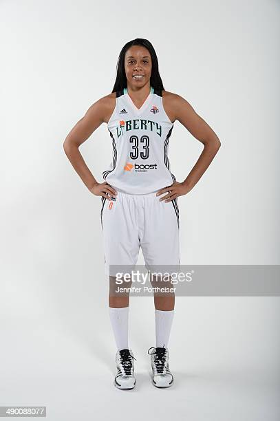 Plenette Pierson of the New York Liberty poses for a portrait during 2014 WNBA Media Day at the MSG Training Facility on May 12 2014 in Tarrytown New...