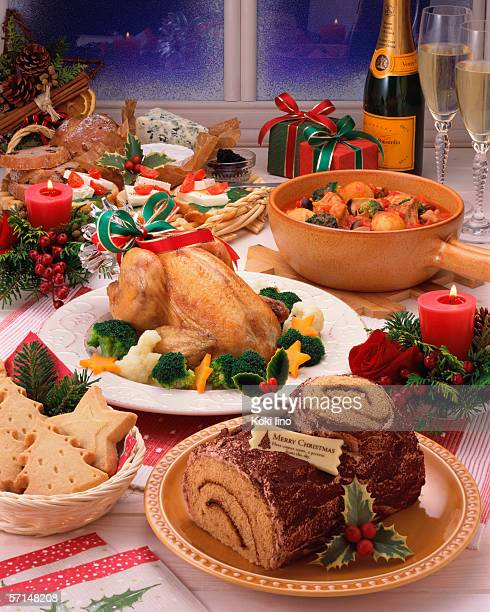 Plenty dishes arranged for Christmas dinner
