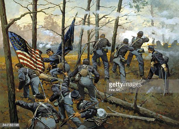 Plenty of Fighting Today Union troops of the 9th Illinois at the Battle of Shiloh during the Civil War The 9th Illinois Infantry was at Shiloh...