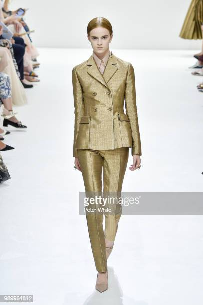Pleun Keijsers walks the runway during the Christian Dior Haute Couture Fall Winter 2018/2019 show as part of Paris Fashion Week on July 2 2018 in...