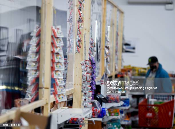Plexiglass partitions setup at the cash registers. At Weaver's Ace Hardware on Fleetwood Lyons Road in Richmond Township Monday afternoon March 1,...