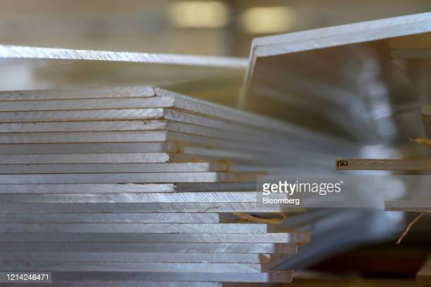 Plexiglass sheets to be processed stand at Plexismart Srl in Guidonia close to Rome Italy on Wednesday May 20 2020 Floortoceiling plexiglass dividers...