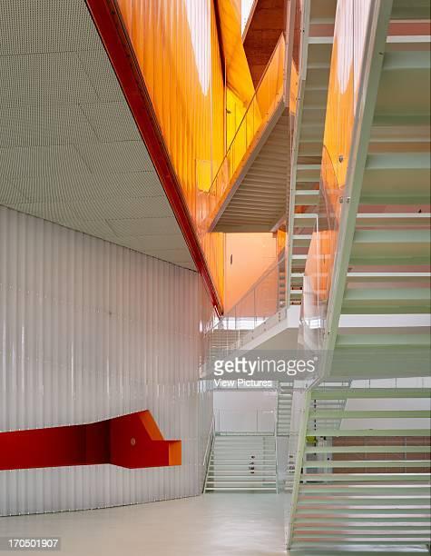 Plexiglass staircase with orangecoloured ETFE sheets El Batel Conference Centre Selgascano Architects Cartagena Spain Plexiglass staircase with...