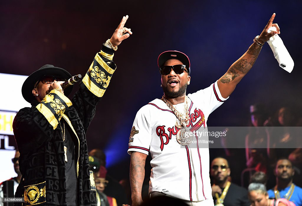 Plies and Young Jeezy performs at Birthday Bash ATL The Heavyweights of HIP HOP Live in Concert at Philips Arena on June 18, 2016 in Atlanta, Georgia.